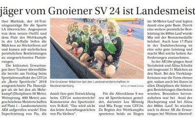 Sponsoring Leichtathletik-Sparte Gnoiener SV 24